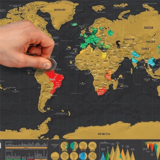 Deluxe Scratchable Travel Map - PropelGear
