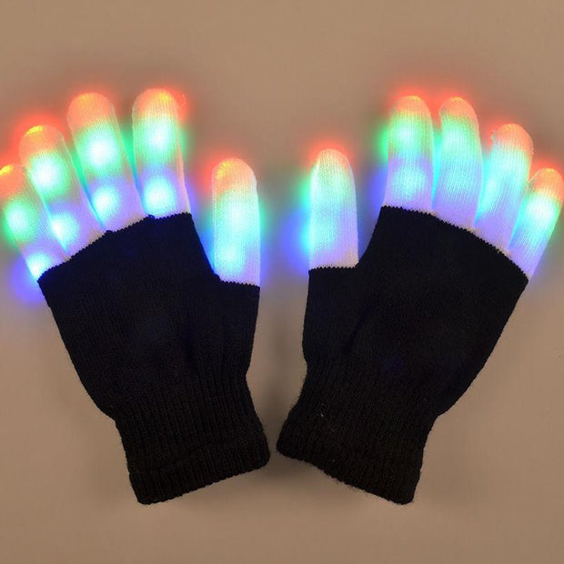 LED Gloves Finger Lights 3 Colors 6 Modes Flashing Rave Gloves (ONE SIZE) - PropelGear