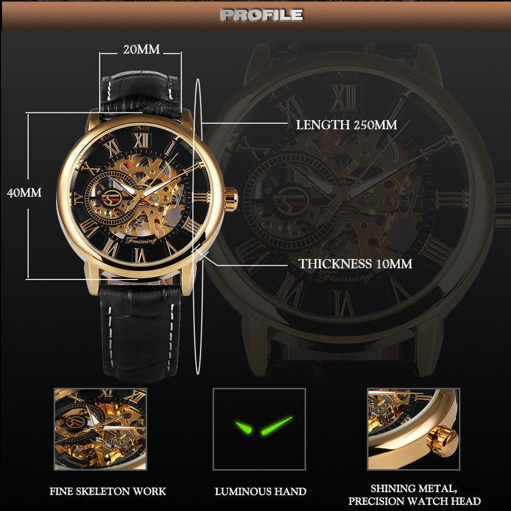 Mens Watches Luxury Mechanical Watch Splendid 3D Hollow Engraving Case Skeleton Dial Sport Watches - PropelGear