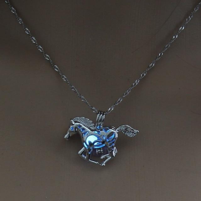 RUNNING HORSE LUMINOUS LOCKET PENDANT NECKLACE GLOWING IN THE DARK VINTAGE JEWELRY - PropelGear
