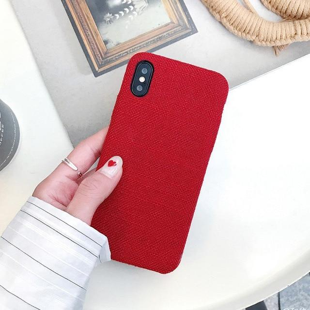 pretty nice 10aa7 52d63 SoCouple Cloth Texture Soft case For iphone 7 8 6 6s plus Case For iphone X  Xs max XR Ultra Thin Canvas Grid Pattern Phone cases