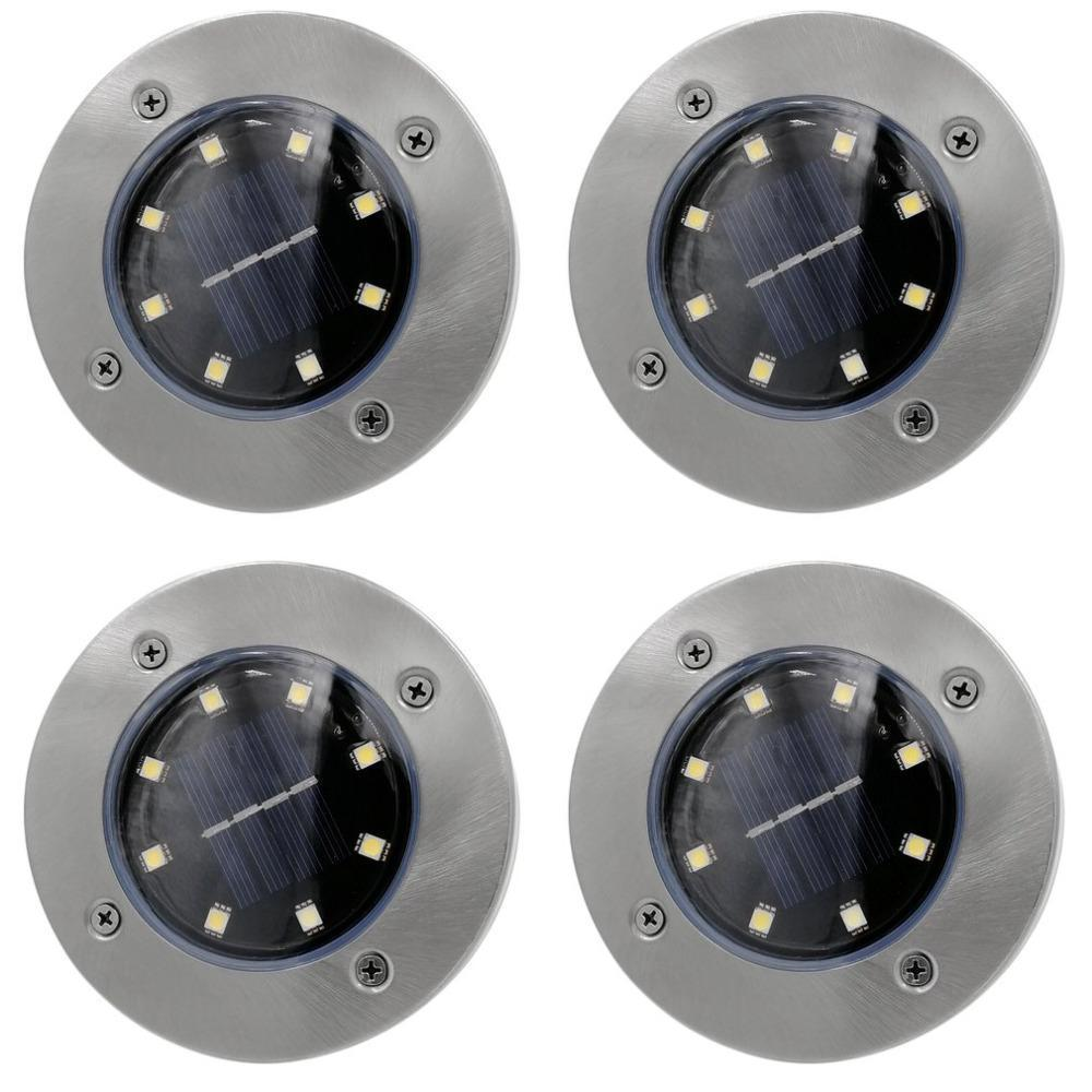 Solar Powered LED Disk Light (4-Pack) - Waterproof Solar Powered Led Disk Lights - PropelGear