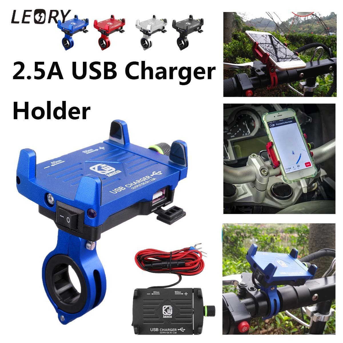 Universal Aluminum Alloy Motorcycle Mount USB Charger Cell Phone Holder for iPhone USB Fast Charging - PropelGear