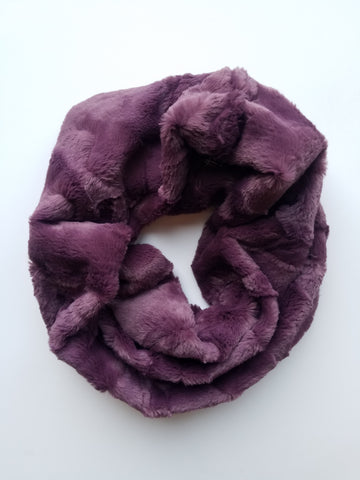 faux fur cowl scarf - mulberry