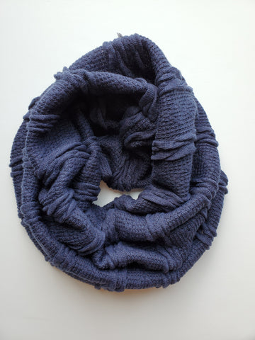 cowl scarf - navy chunky knit