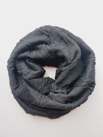 kids cowl scarf- black chunky knit