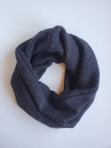 cowl scarf - black tweed sweater knit