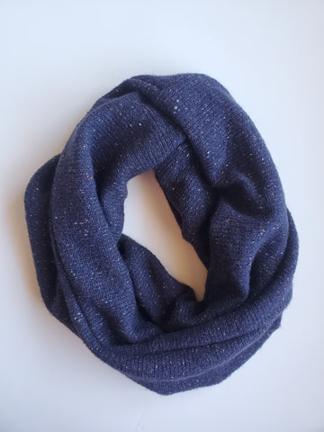 cowl scarf - navy tweed sweater knit