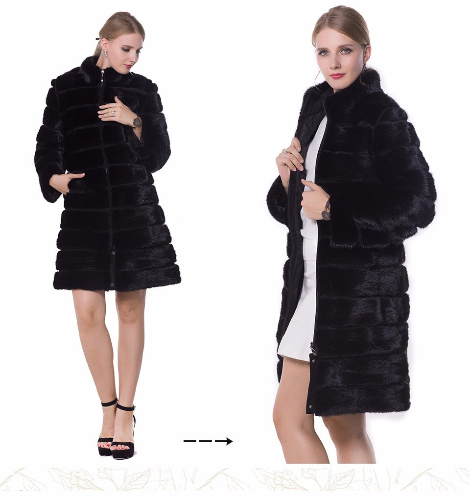 Real natural fur coat for women