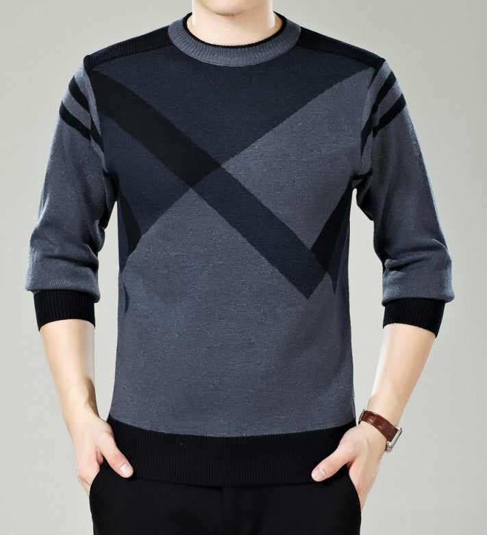 Men's Winter Round Neck Knitted Sweater, Cashmere Pullover