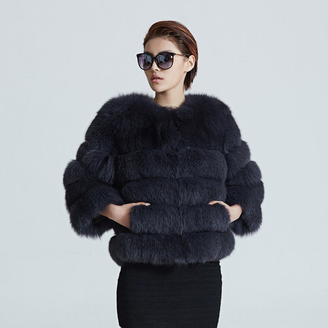 Women Warm Real Fox Fur Coat Short Winter Fur Jacket