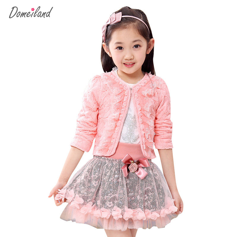 2017 fashion domeiland children clothing kids flower outfits sets girl 3pcs Princess lace ruffle cardigan tops tutu skirts suits