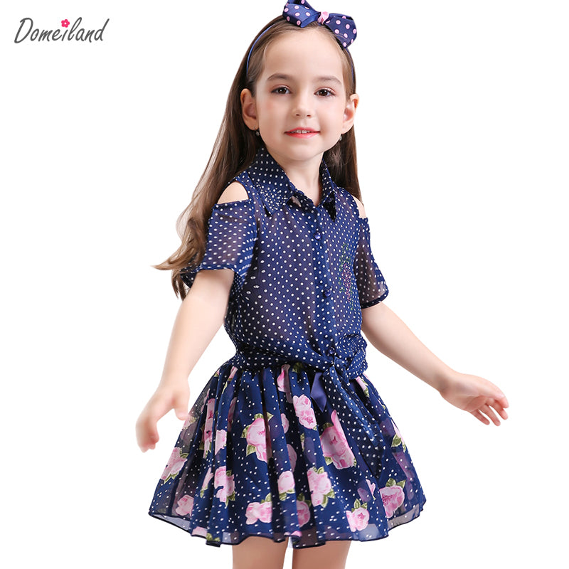 2017 fashion summer domeiland children clothing sets kids girl outfits Polka Dot short sleeve Chiffon tops skirt suits clothes