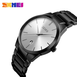 SKMEI 2017 New Simple Quartz Watch Men Business Alloy Steel Strap Mens Watches Top Brand Luxury Waterproof Date Wristwatch 9140