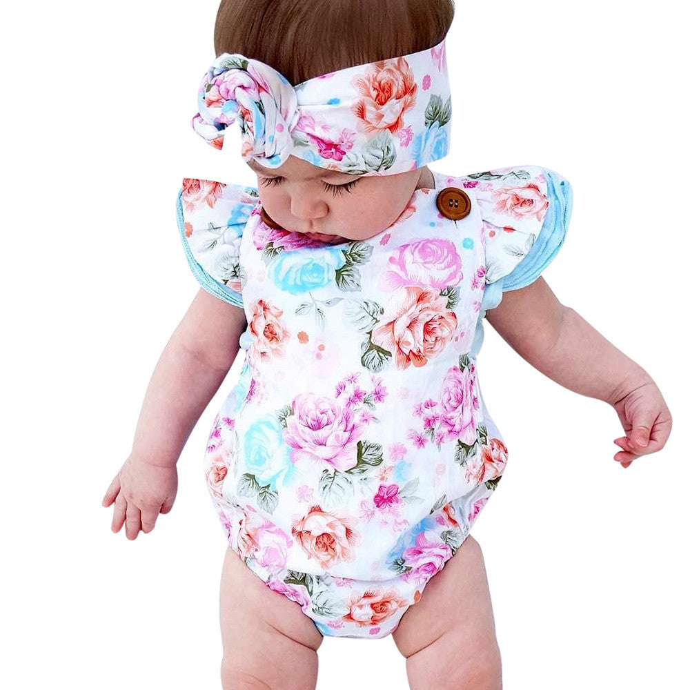newborn baby boutique vintage floral romper jumpsuit with matched headband