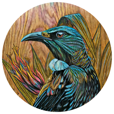 Tui in flax upon timber reworked art dot