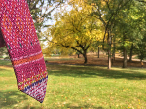 unique pink tie in central park new york | Cambo Ties