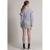 Abbie Ruffled Knit Sweater, Powder Blue
