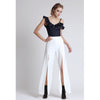 Pearl Embellished Front Slit Pants, Off-white