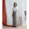 Olivia Wide Leg Pants, Grey Plaid