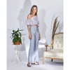Joanna Wide Leg Pants, Light Blue