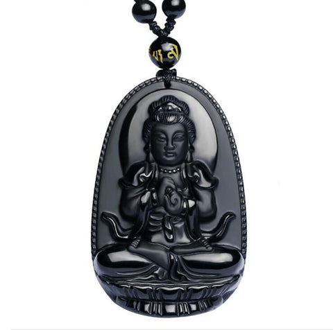 Black Buddha Necklace Obsidian Amulet - EpicGearCenter