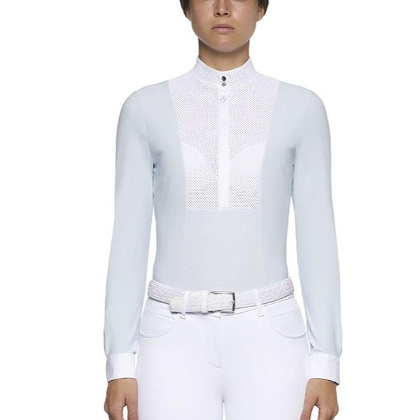 Cavalleria Toscana Perforated Bib and Collar Long Sleeve Shirt