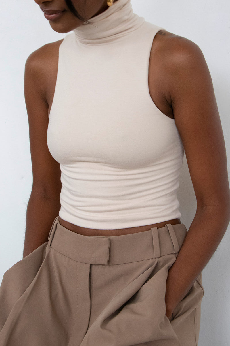 Turtleneck Sleeveless Top Ivory