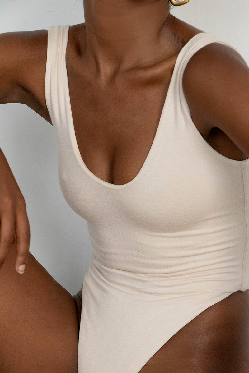 Scoop Neck Tank Bodysuit Ivory