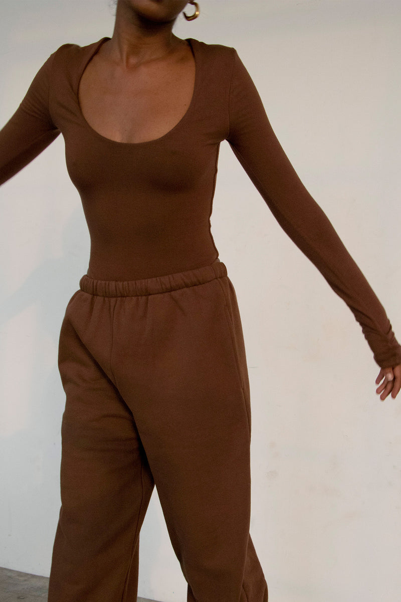 Scoop Long Sleeve Bodysuit Chocolate