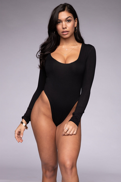 Scoop Long Sleeve Bodysuit Black