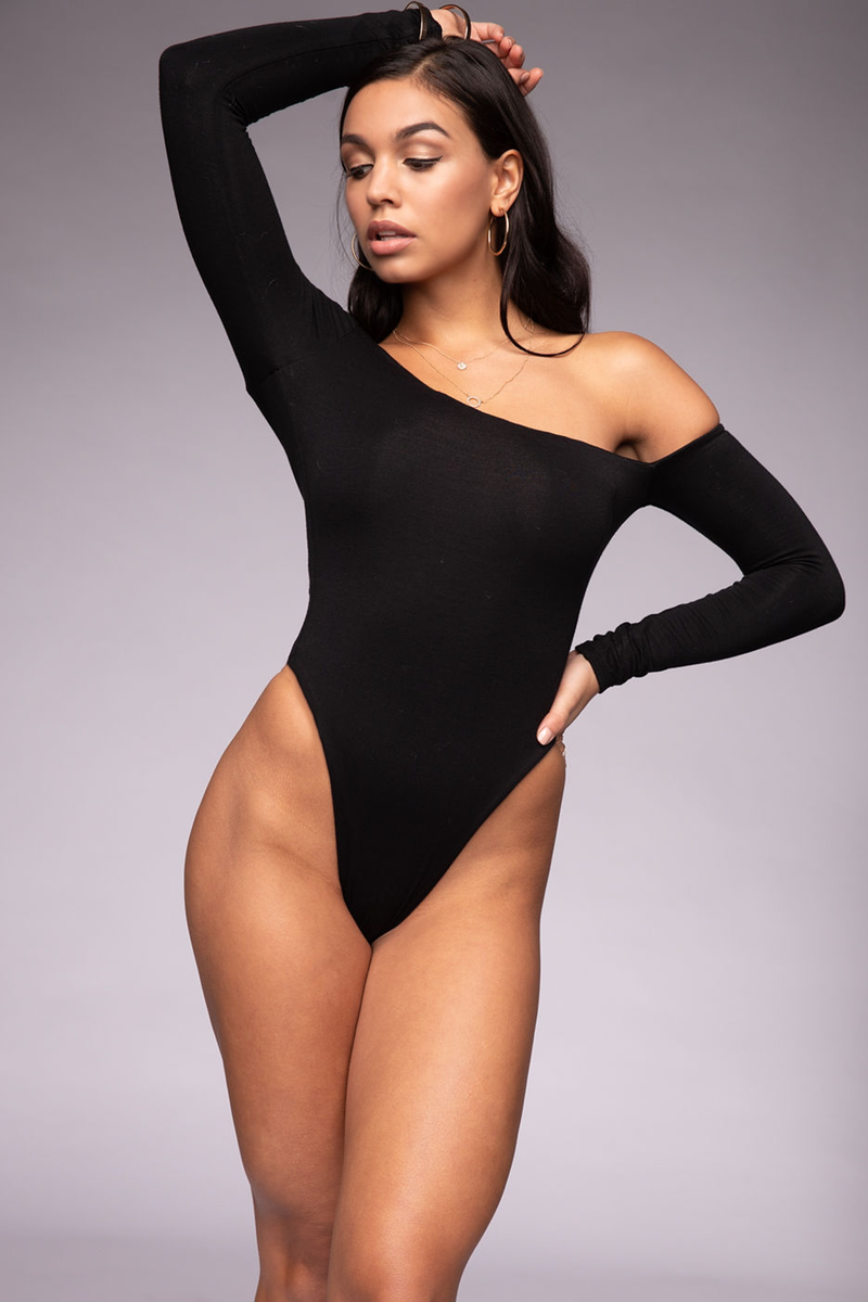 Off Shoulder Long Sleeve Bodysuit Black