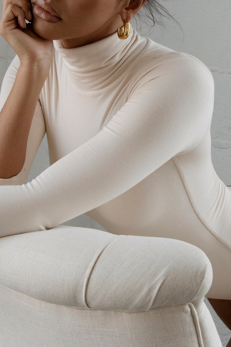 Turtleneck Bodysuit Ivory