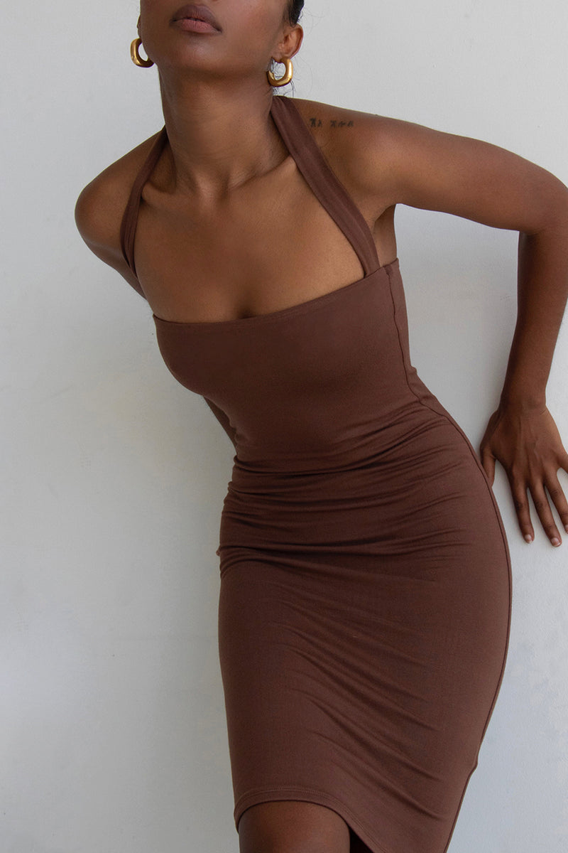 Halterneck Dress Chocolate