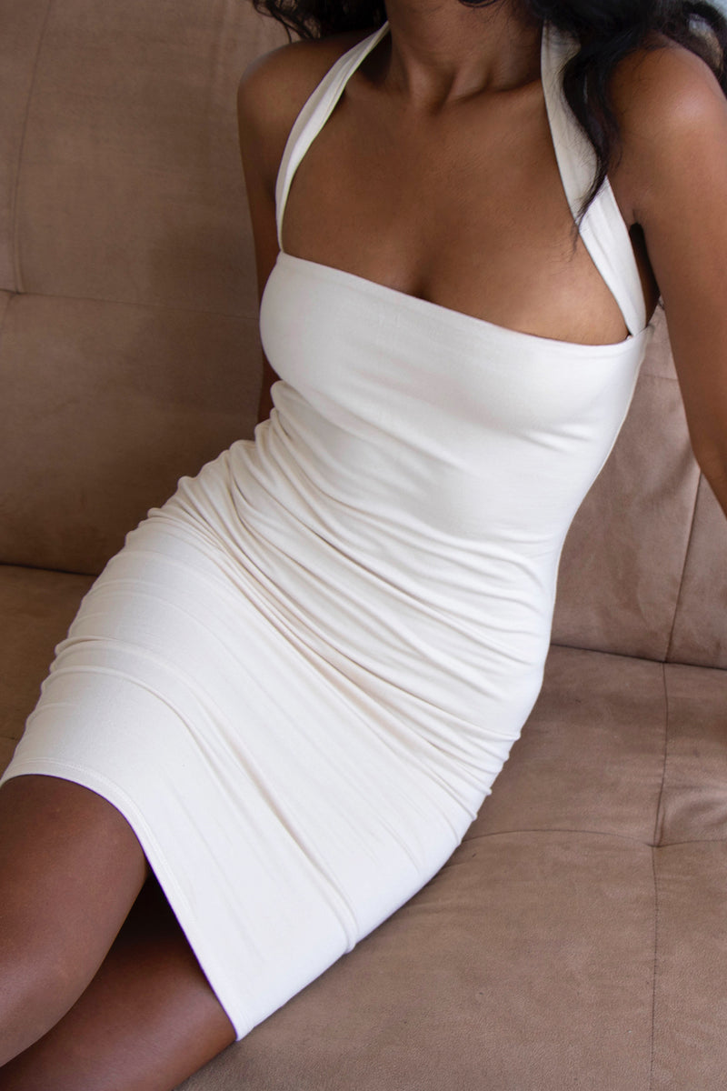 Halterneck Dress Cream