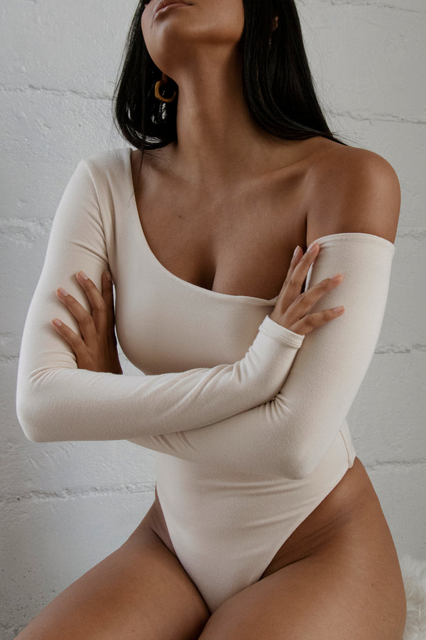 Off Shoulder Long Sleeve Bodysuit Ivory