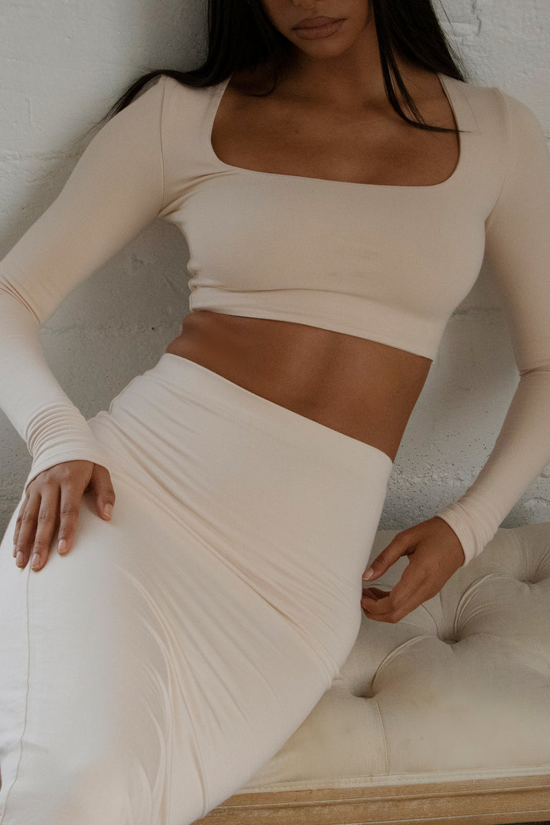 Square Neck Crop Top Ivory