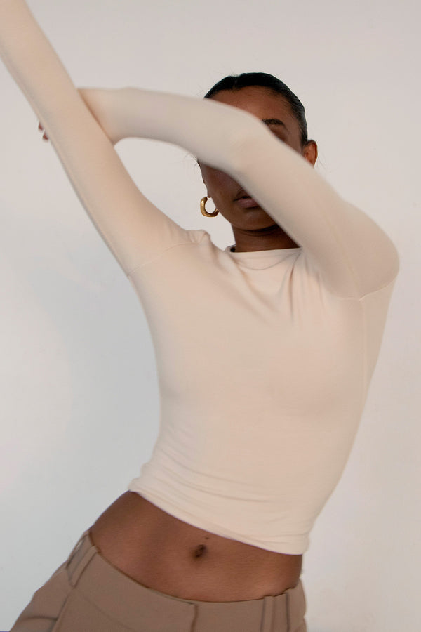 Signature Long Sleeve Top Ivory