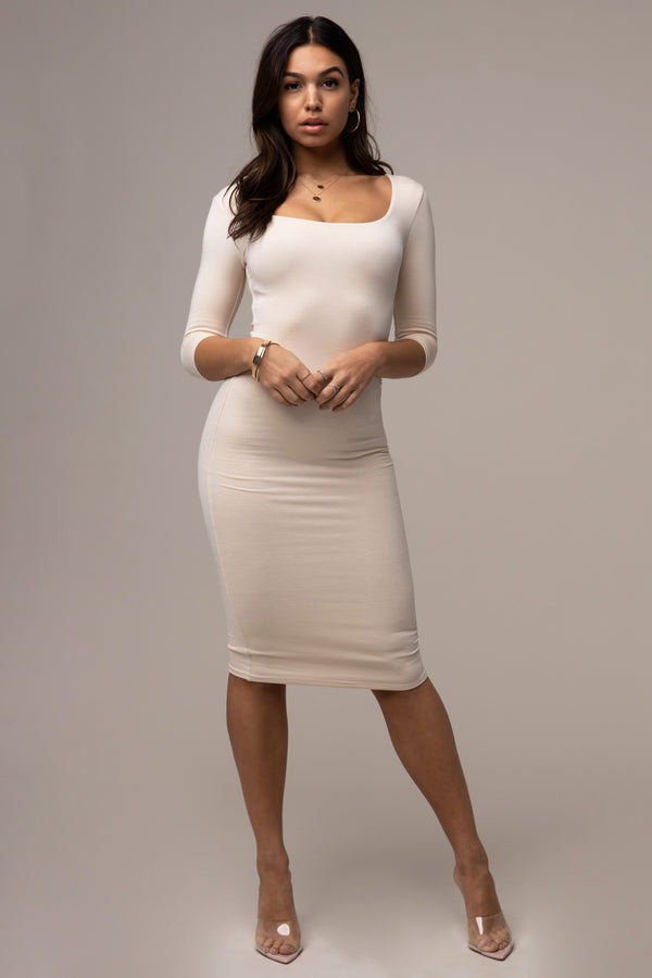 3/4 Sleeve Square Neck Dress Ivory