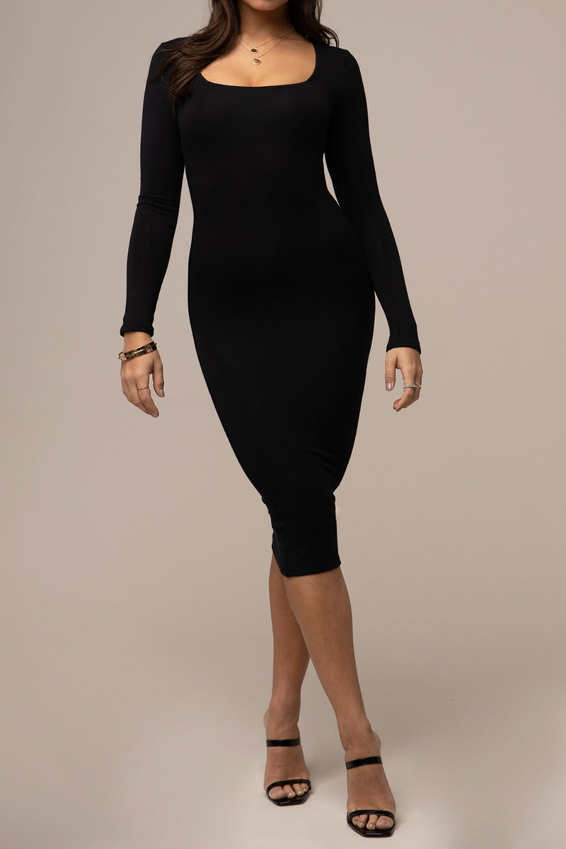 Square Neck Dress Black