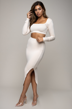 Side Split Midi Skirt Ivory