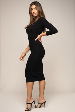 3/4 One Sleeve Dress Black