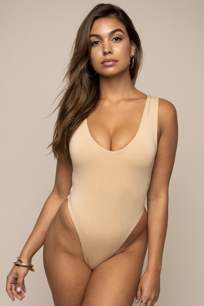 Scoop Neck Bodysuit Tan