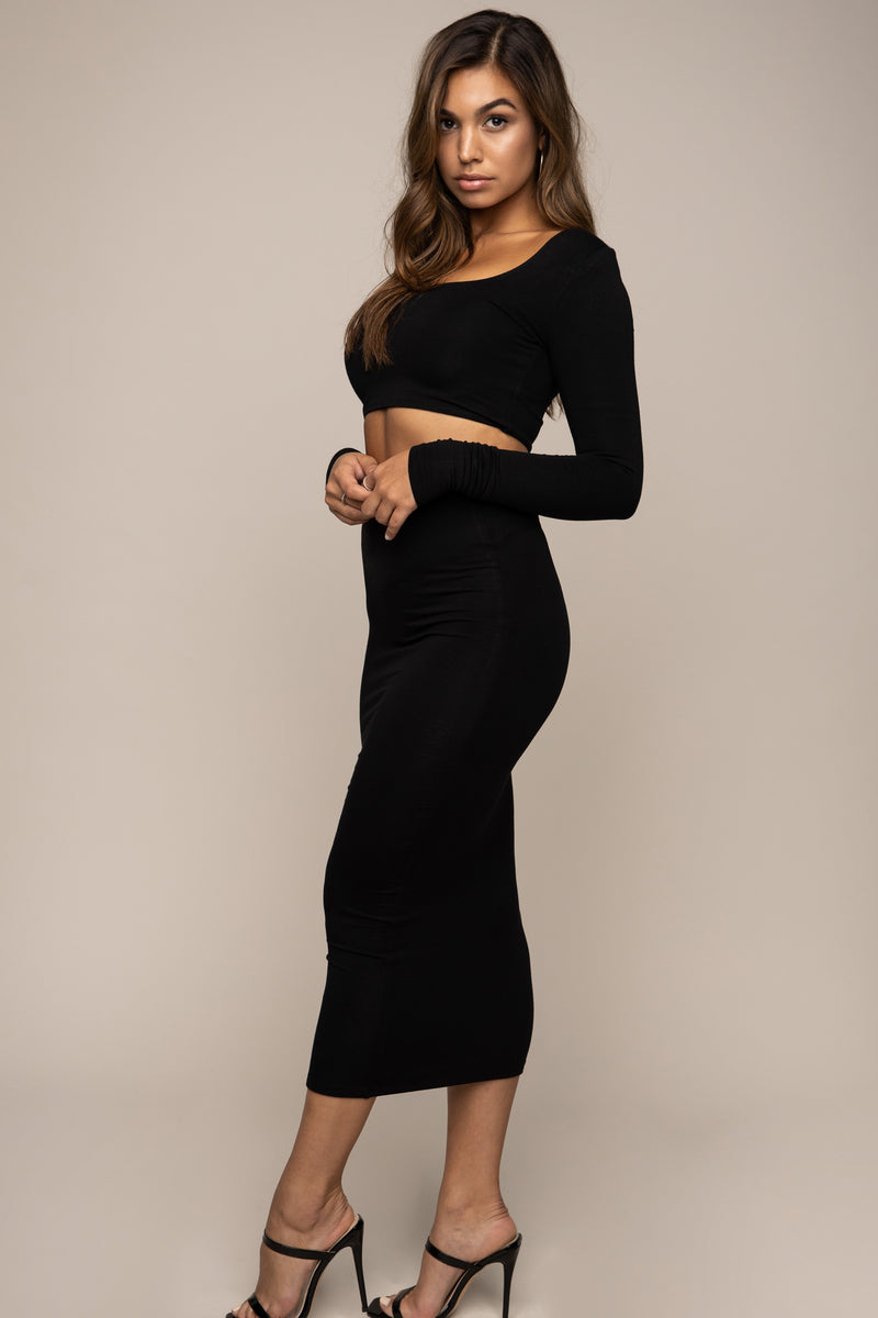 Square Neck Crop Top Black