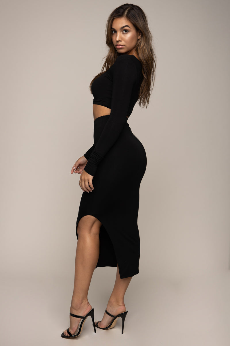 Side Split Midi Skirt Black