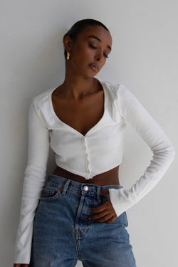 Ribbed Button Up Cardi White