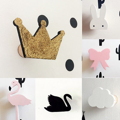 Cute bunny wooden clothes hook for kids room wall decorate