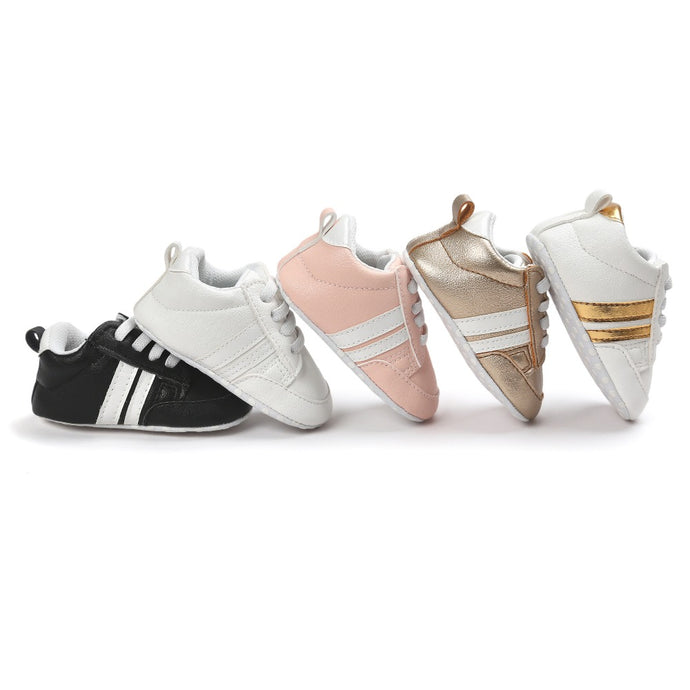 Branded Quality Baby Sneakers moccasins infant anti-slip PU Leather first walker soft soled