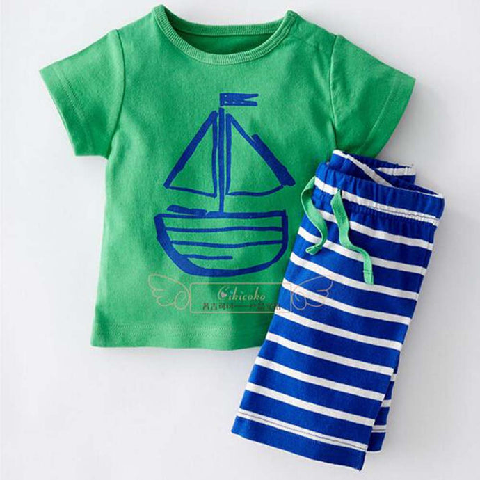 Free ship  boys summer cartoon clothing sets kids boy clothes set apparel t-shirt + stripe shorts 2pcs YAZ052F