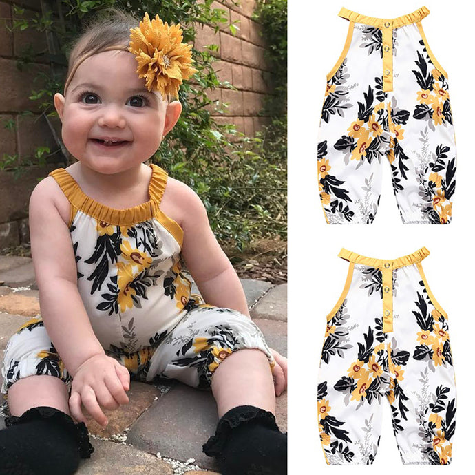 Newborn Baby Baby Girls Flower Sliders Overalls One Pieces - 0-3T